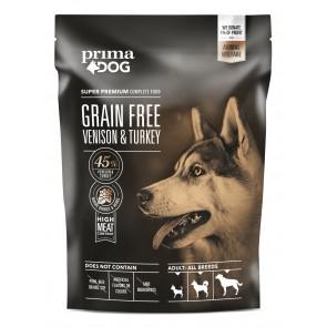 PrimaDog GRAIN FREE täistoit hirveliha-kalkuni kõikidele täiskasvanud koertele 1,5 kg