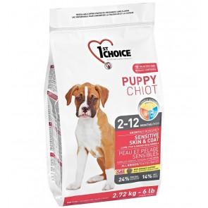 1st Choice koeratoit TUNDLIKU NAHA/KARVASTIKUGA KUTSIKATELE, lambaliha ja täisterariisiga 14 kg