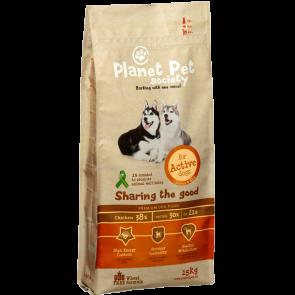 Planet Pet Society kuivtoit täiskasvanud aktiivsele koerale kana ja riisiga 15 kg