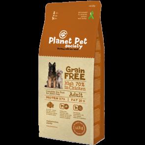 Planet Pet Society teraviljavaba kuivoit täiskasvanud koertele kanaga 12 kg