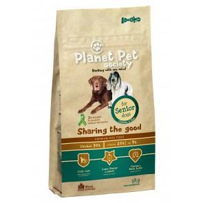 Planet Pet Society kuivtoit eakale koerale kana ja riisiga 15 kg